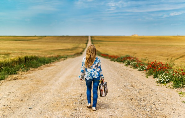 Picture road, field, girl, back