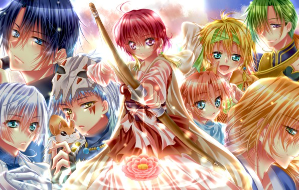 Picture flower, girl, dragons, anime, bow, art, arrow, guys, characters, Dawn Yona, Akatsuki no Yona