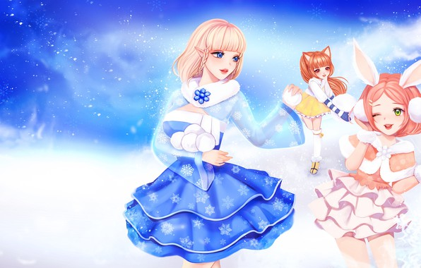 Picture winter, the game, anime, art, snowballs, TERA, No Name, (NN)
