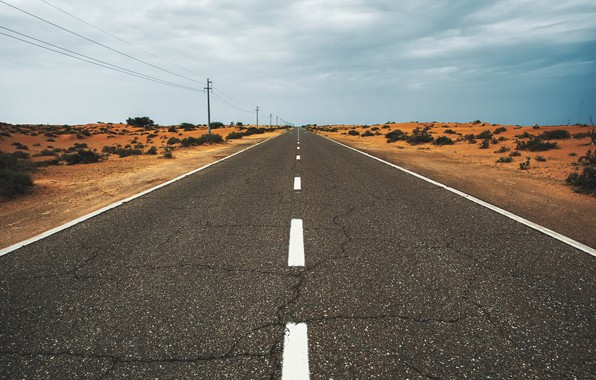 Picture Road, Desert, Asphalt, The bushes, Desert, Asphalt, Bushes, by Aleksandar Pasaric, Aleksandar Pasaric, Desert road, …