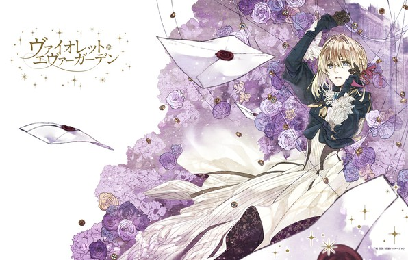 Picture characters, gloves, art, the envelope, blue roses, letters, red ribbon, Violet Evergarden, Akiko Takase
