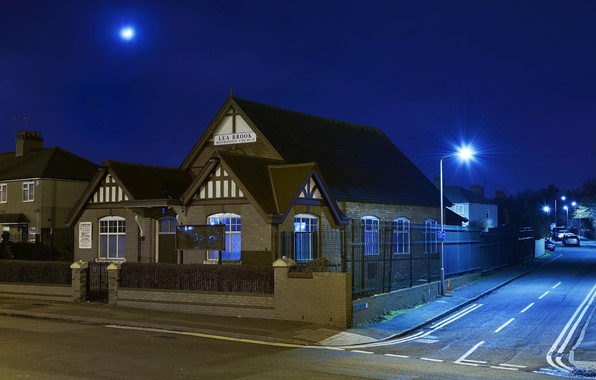 Picture lights, the evening, lights, Church, Wednesbury