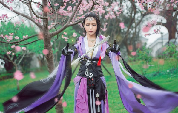 Picture greens, purple, look, girl, decoration, trees, flowers, branches, face, cherry, pose, style, background, the wind, …