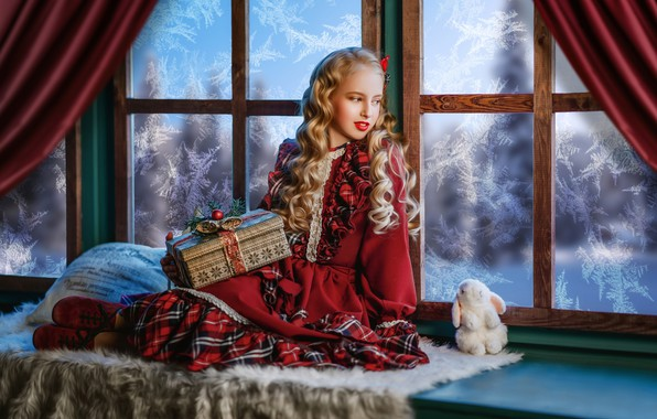 Picture gift, toy, rabbit, dress, window, frost, girl, pillow, Bunny, curls, on the windowsill, Диана Липкина
