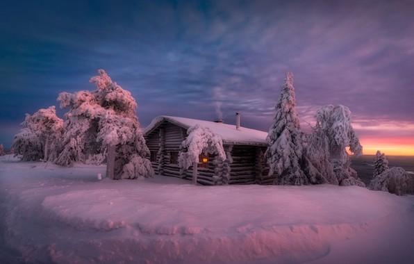Picture winter, snow, hut