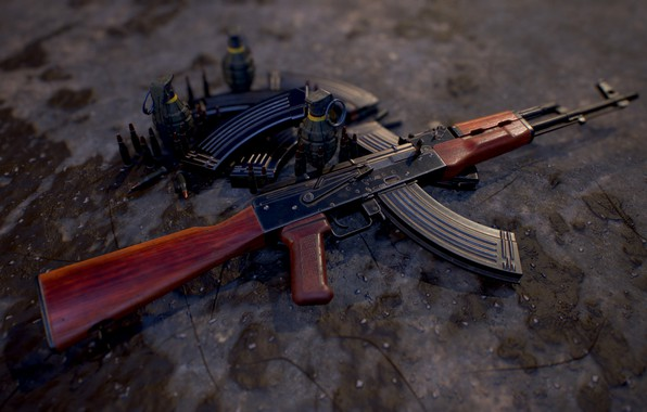 Picture rendering, weapons, gun, weapon, render, Kalashnikov, assault rifle, assault Rifle, Kalashnikov, AKM, akm
