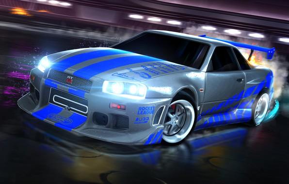 Picture Nissan, skyline, Nissan, skaylan, R34, Nissan Skyline GT-R, 1999, Rocket League