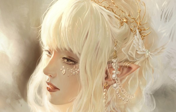 Picture face, rhinestones, elf, white hair, art, pearls, hair ornaments, bangs, pointy, elf girl, Free Chien