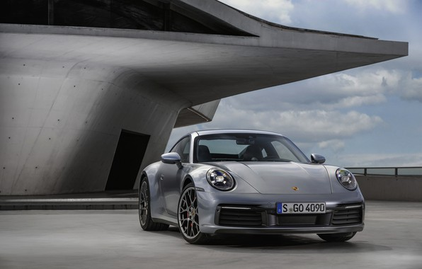 Picture the building, coupe, 911, Porsche, Carrera 4S, 992, 2019
