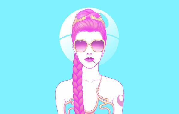 Picture Star Wars, minimalism, braid, digital art, fan art, artwork, sunglasses, simple background, Death Star, Princess …