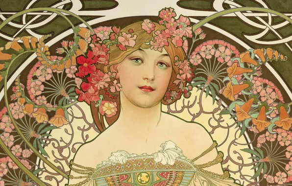 Picture figure, painting, composition, female images, Alphonse Mucha, Alfons Maria Mucha, beauty with flowers