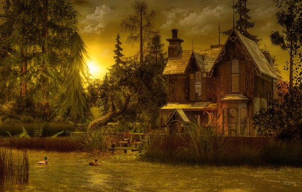 Picture the sky, grass, the sun, clouds, light, trees, landscape, sunset, birds, nature, comfort, lake, house, …