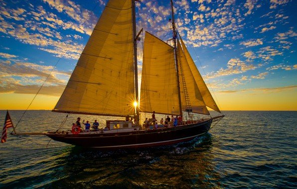 Picture the sky, sunset, yacht, The Atlantic ocean