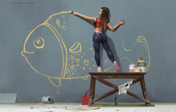 Picture Girl, Figure, Paint, Fish, Art, Art, Repair, Nikolai Litvinenko, One summer day, by Nikolai Litvinenko, ...