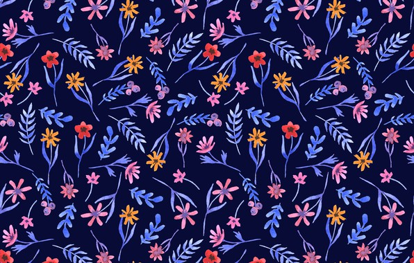 Picture flowers, blue, background, texture, pattern