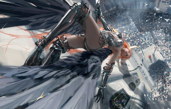Picture girl, fantasy, armor, wings, birds, angel, redhead, digital art, dove, artwork, warrior, fantasy art, falling, …
