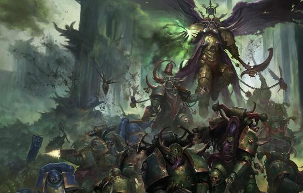 Picture demon, chaos, war, space marines, battle, Ultramarines, Warhammer 40 000, Death Guard, plague, Nurgle, primarch, ...