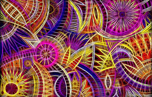Picture bright colors, line, circles, abstraction, background, fantasy, curves, floral ornament, screensaver on your desktop, fractal …