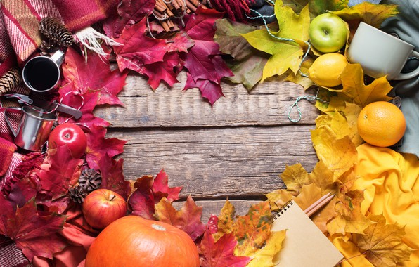 Picture autumn, leaves, background, apples, colorful, harvest, maple, wood, background, autumn, leaves, autumn, apples, maple