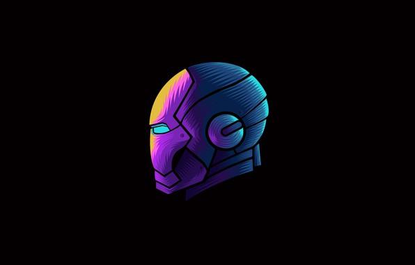 Picture colorful, fantasy, minimalism, Iron Man, Marvel, digital art, artwork, mask, superhero, black background, fantasy art, …