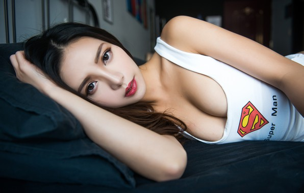 Picture girl, logo, superman, cleavage, Asian, long hair, breast, photo, model, lips, face, brunette, chest, white …