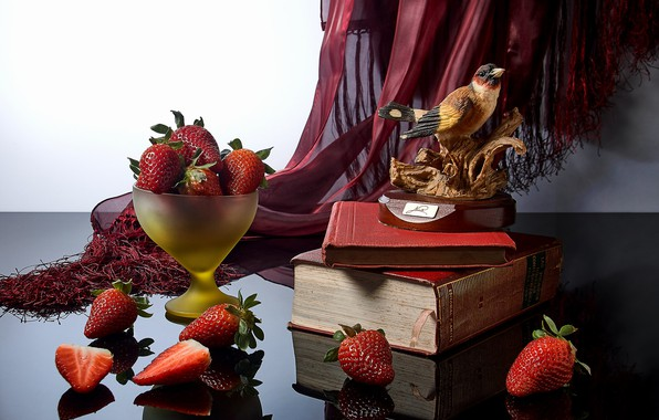 Picture style, reflection, berries, books, strawberry, figurine, bird, still life, figure