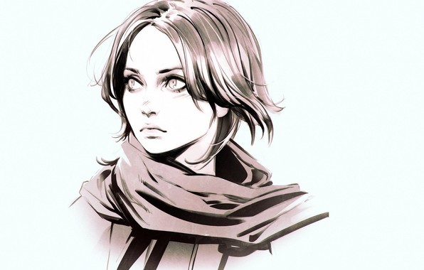 Picture face, scarf, blue background, bangs, portrait of a girl, Ilya Kuvshinov