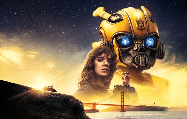 Picture Girl, USA, Action, Car, Golden Gate Bridge, Clouds, Sky, Stars, Robot, Bridge, Alien, Night, Francisco, ...
