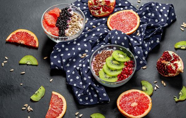 Picture grain, kiwi, fruit, seeds, grapefruit, garnet