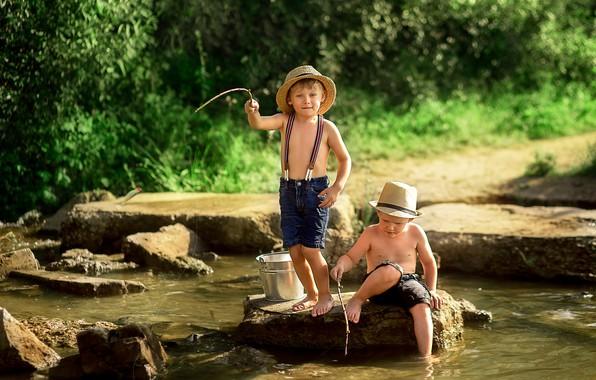 Picture summer, nature, children, river, stones, fishing, bucket, fishermen, friends, boys, boys, Ekaterina Borisova