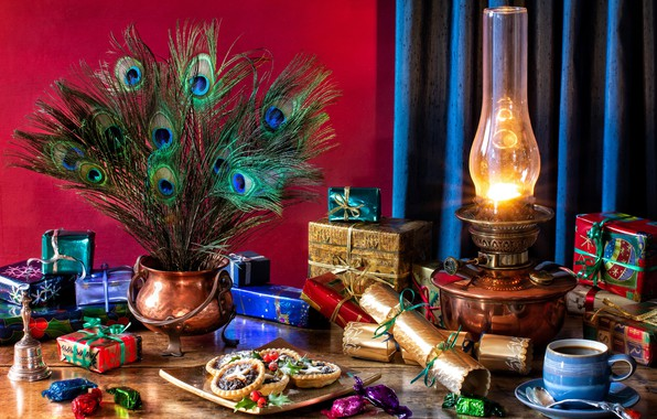 Picture style, lamp, coffee, Christmas, candy, gifts, New year, cake, peacock feathers