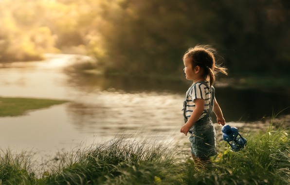 Picture summer, grass, nature, river, shore, girl, lantern, baby, child, Despird Zhang
