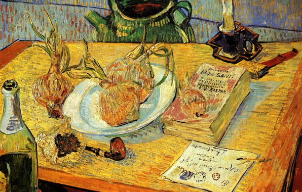 Picture letter, table, candle, matches, tube, kettle, bow, book, Vincent van Gogh, Pipe, Shampanskoe, Still Life ...