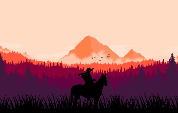 Picture forest, horse, cowboy, rifle, Western, bandit, wild west, Rockstar, wild West, rockstar games, cowboy, red …