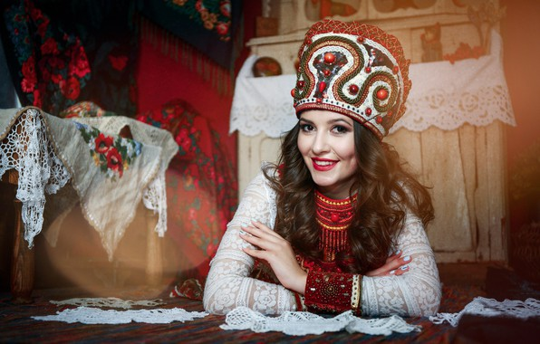 Picture girl, smile, style, swipe, kokoshnik, Anastasia Golubeva, Anastasia Took