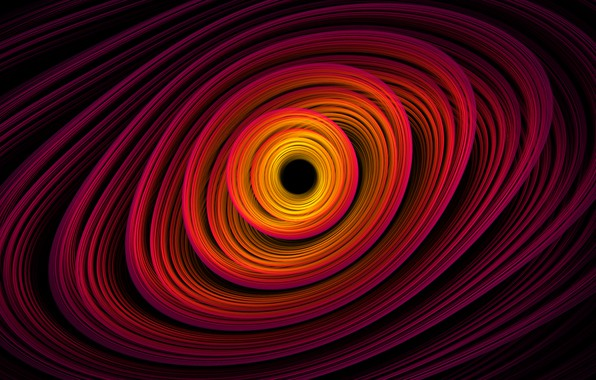 Picture space, orange, yellow, pink, black, spiral, black hole, black hole