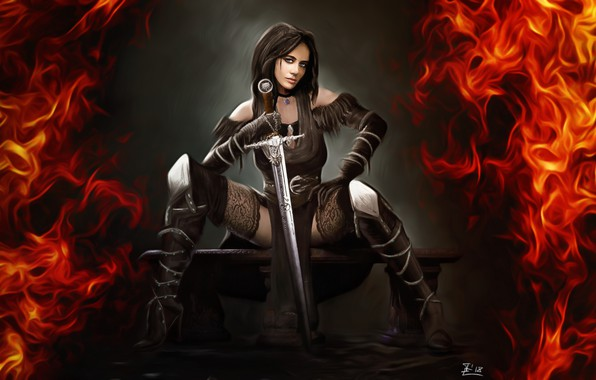 Picture Girl, Figure, Fire, Sword, Art, Art, Illustration, Witcher, Yennefer, Game Art, madeinkipish, Yennefer fanart, by …