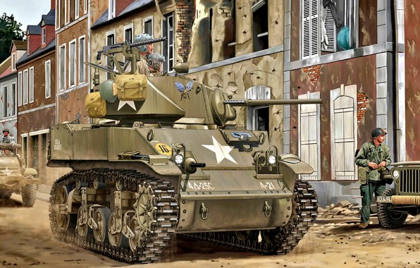 Picture Soldiers, US Army, WWII, Tankers, M5A1 Stuart