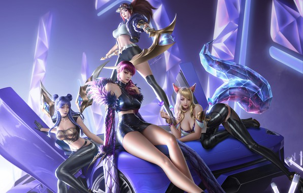 Picture auto, girls, fragment, cloud-_d, KDA girl group