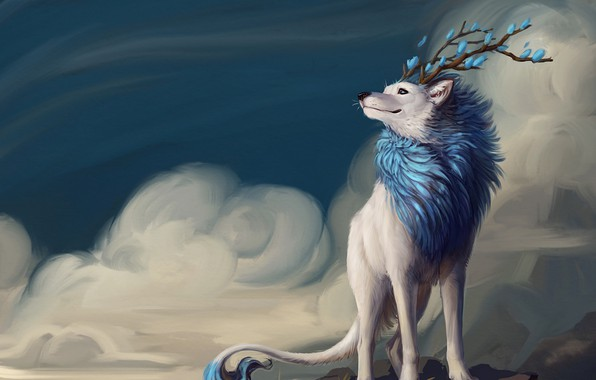 Picture fantasy, horns, sky, flowers, clouds, animal, artwork, fantasy art, fur, Creature