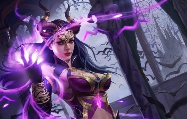 Picture magic, fantasy, art, horns, bats, demoness