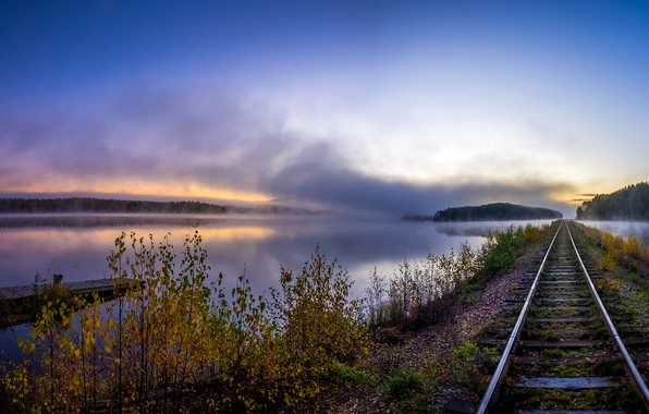 Picture autumn, forest, the sky, trees, fog, river, dawn, rails, pier, railroad, sleepers