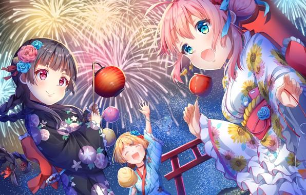 Picture girls, festival, caramel apples
