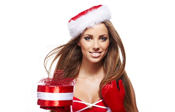 Picture smile, holiday, box, gift, hat, new year, portrait, Christmas, makeup, dress, hairstyle, white background, gloves, ...