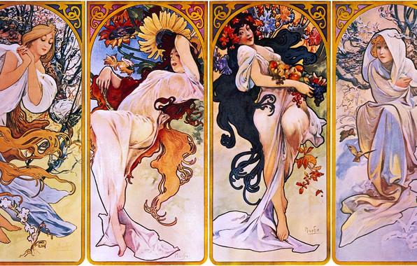 Picture winter, autumn, summer, seasons, spring, 1895, Alphonse Mucha, Seasons