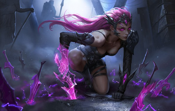 Picture dark, girl, fantasy, cleavage, pink hair, armor, Warrior, weapons, digital art, artwork, fantasy art, daggers, ...