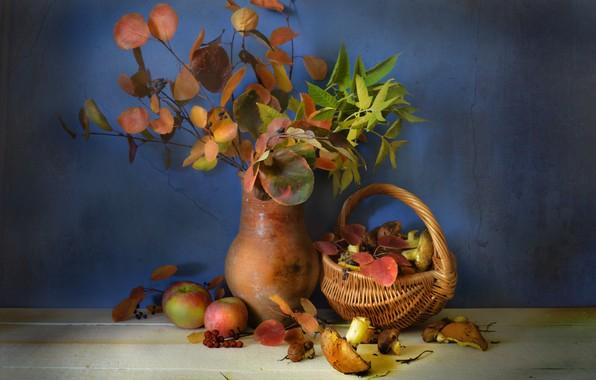 Picture autumn, leaves, basket, mushrooms, pitcher, fruit, still life