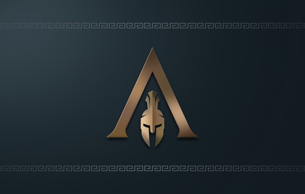 Picture logo, game, minimalism, Ubisoft, Assassin's Creed, digital art, simple background, Assassin's Creed Odyssey