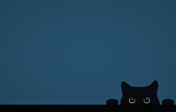 Picture minimalism, Cat, funny, digital art, artwork, cute, yellow eyes, paw, simple background