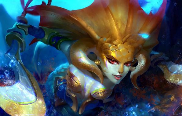 Picture fantasy, game, cleavage, underwater, weapon, boobs, saber, red eyes, digital art, breasts, Dota 2, artwork, …